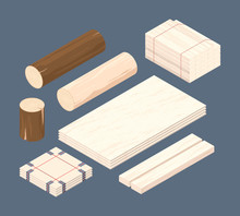Wooden Isometric. Set Of Stack...