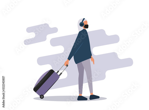 Woman wearing face mask travelling aboard vector illustration Canvas Print