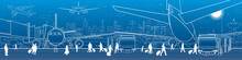 Airport Panorama. The Plane Is On The Runway. Aviation Transportation Infrastructure. Airplane Fly, People Get On The Aircraft And Bus. Night City On Background, Vector Design Art