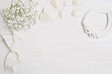 Mockup Background With Flowers...
