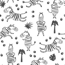 Monochrome Seamless Background With Cute Zebras