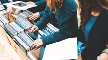 Stacks Of Vinyl Records In The...