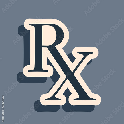 Black Medicine symbol Rx prescription icon isolated on grey background Wallpaper Mural