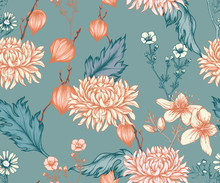 Seamless Floral Pattern With Chrysanthemums And Other Flowers