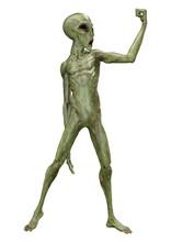 3D Rendering Green Alien On Wh...
