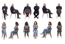 Collage Of A Couple Sitting On A Chair In White Background, Front,profile And Back View