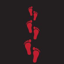 Human Footprints Red On A Blac...
