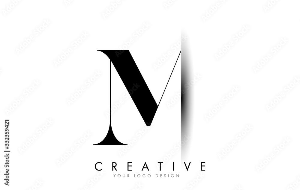 Fototapeta M Letter Logo with Creative Shadow Cut Design.