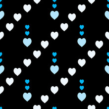 Seamless Pattern With Exquisite Blue And White Hearts On Black Background For Plaid, Fabric, Textile, Clothes, Tablecloth And Other Things. Vector Image.