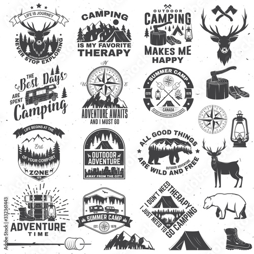 Obraz Set of outdoor adventure quotes symbol. Vector. Concept for shirt or logo, print, stamp, tee. Vintage design with hiking boots, camping tent, lantern, axe, mountains, bear, deer, forest silhouette - fototapety do salonu