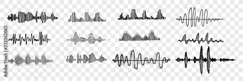 Photo Hand drawn sound waves set collection