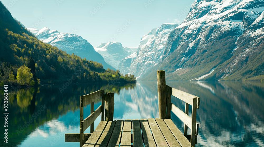 Fototapeta Norwegian fjord landscape in spring