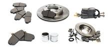 Brake Parts On White: Brake Pads, Disc, Brake Hose, Guides, Cylinders - Image  - Image