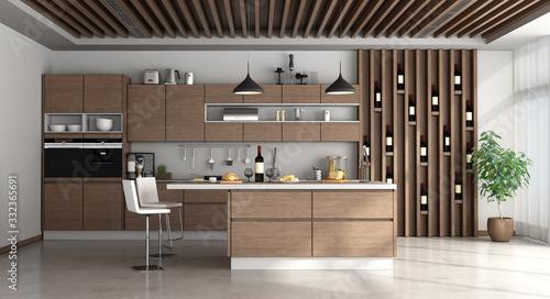 Obraz Wooden modern kitchem with island - fototapety do salonu