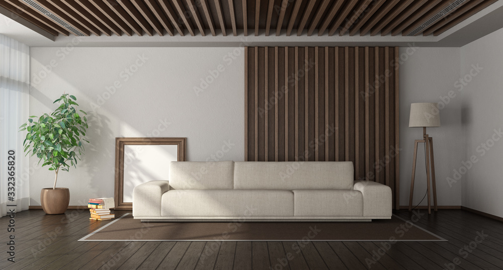 Fototapeta Minimalist living room with wooden paneling on background