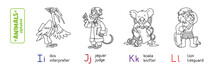 Animals Professions Alphabet Or ABC. Coloring Book