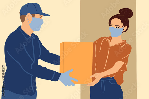 Photo Illustration of a delivery man in medical facial mask and gloves delivering parcel to a young woman during a quarantine