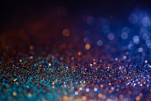 Decoration Twinkle Lights Background, Abstract Sparkle Backdrop With Circles,modern Design Wallpaper With Sparkling Glimmers. Blue, Orange And Golden Backdrop Glittering Sparks With Blur Effect
