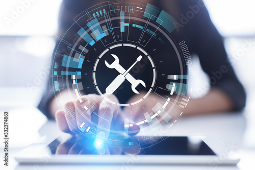 Fototapeta Support button on virtual screen. Customer service and communication concept. obraz
