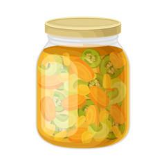 Glass Jar with Brined Vegetable Salad Vector Illustration