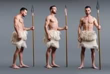 Collage Of Muscular Caveman With Spear On Grey, Evolution Concept