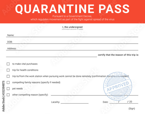 Personal admission form during the quarantine restriction measures Wallpaper Mural