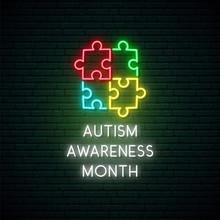 Neon Colorful Puzzle. Autism A...