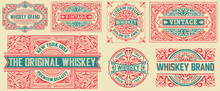 Set Of 7 Vintage Cards. Vector Layered