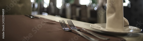 Cuadros en Lienzo fork and knife serving in the interior of the restaurant / table in a cafe, food