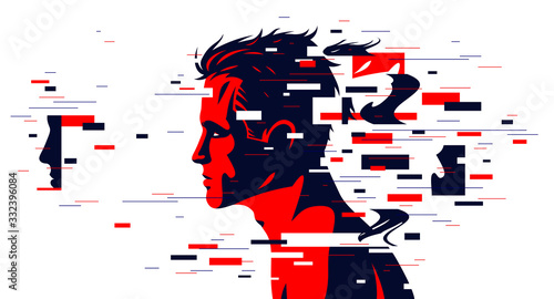 Obraz Man profile with glitch dynamic particles in motion vector illustration, mindfulness philosophical and psychological theme, neural network, technology or psychology concept. - fototapety do salonu