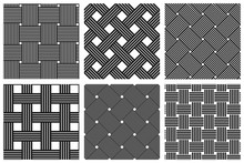 Weave Seamless Patterns Set, Vector Linear Backgrounds With Woven Textures, Textile Knitted Repeat Tiling Wallpapers, Perfect Simplistic Minimal Designs.