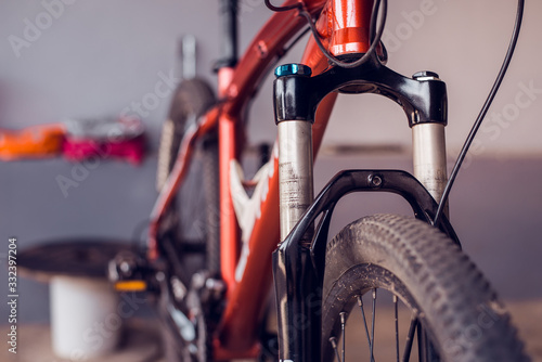 Oil shock absorber, Bicycle shock absorbers that must be fixed, Close-up Canvas Print