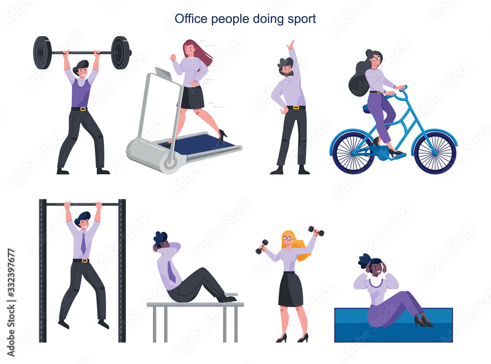 Fototapeta Business people doing sport set. Collection of different sport activity.