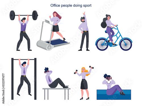 Obraz Business people doing sport set. Collection of different sport activity. - fototapety do salonu