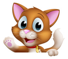 A Cat Cartoon Pet Kitten Cute Animal Character Peeking Over A Sign And Waving.