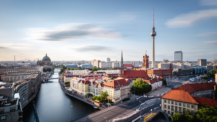 Fototapeta Berlin Berlin skyline panorama with TV tower and Spree river at sunset, Germany
