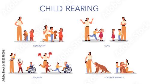 Obraz Parenthood and child rearing concept set. Influence on child, family - fototapety do salonu