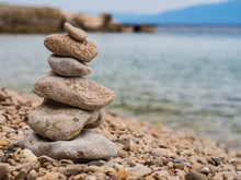 Zen Stones By The Sea