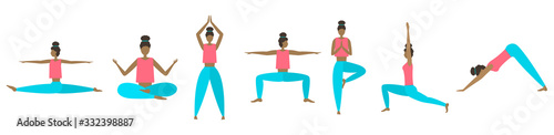 Photo Vector yoga poses set. All elements of the body are changing