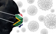 canvas print picture - South Africa coronavirus outbreak. Face with protective mask. 3D Render