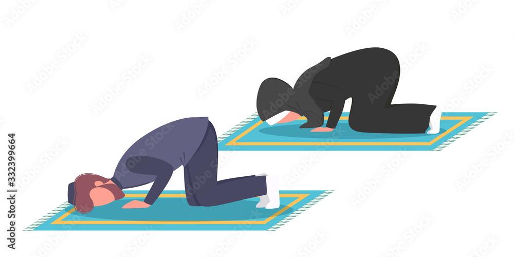 Fototapeta Muslim man and woman praying position. Man and woman