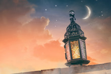 Arabic Lantern With Burning Candle