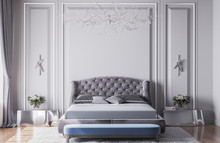 Mock Up Interior For Luxury New Classic Bedroom, Grey Bed, Blue Bench With Silver And Metal Accessories, Modern Chandelier, Empty Wall Design Template, 3d Rendering, Illustration