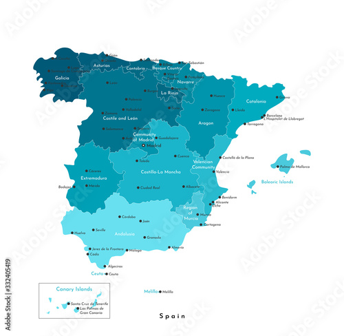 Vector isolated illustration. Simplified administrative map of Spain (including Balearic, Canary islands, Melilla, Ceuta). White background. Names of spanish cities and autonomous communities