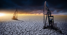 Oil Rig In The Desert On A Bac...