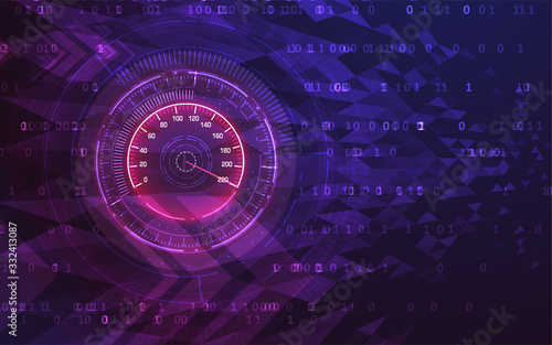 Photo Speed motion background with speedometer car