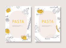 Vintage Italian Pasta Restaurant Illustration. Hand Drawn Vector Illustration With Splash. Can Be Used For Wrapping Paper, Street Festival, Farmers Market, Shop, Menu, Cafe, Restaurant.