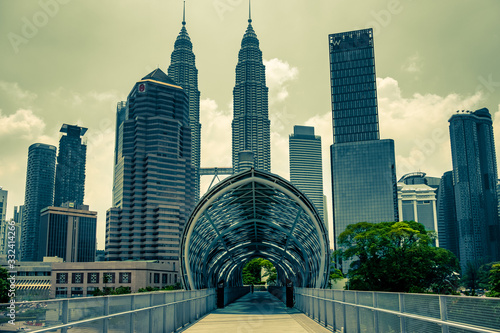 Saloma Bridge & Petronas Towers in Kuala Lumpur, Malaysia Wallpaper Mural