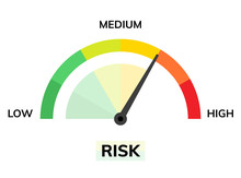 Risk Speedometer Manage Asses Analysis. High Risk Reduce Assessment Level Meter Dashboard