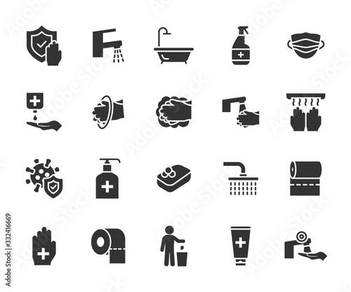 Vector set of hygiene flat icons Canvas Print
